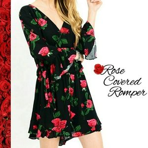 Pants - Bell Cuff Rose Covered V Neck Flowy Romper